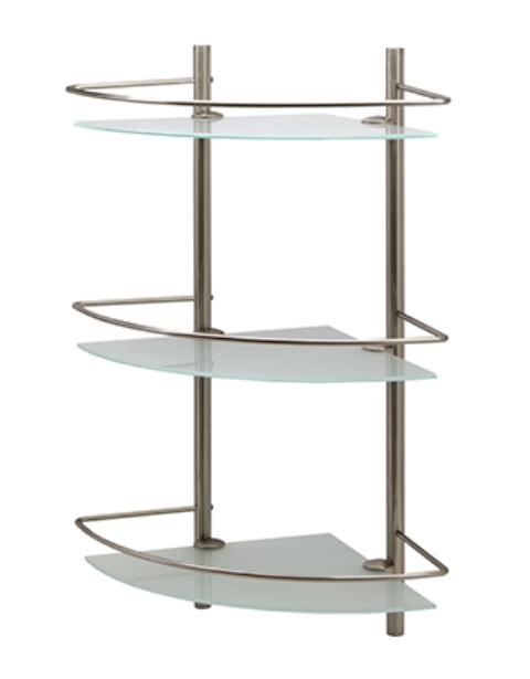 Полка WasserKRAFT K-3733 стеклянная тройная угловая металл, покрытие матовый хром, закаленное матовое стекло, фото