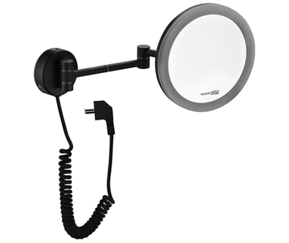 Зеркало WasserKRAFT K-1004 Black с LED-подсветкой, 3-х кратным увеличением, фото