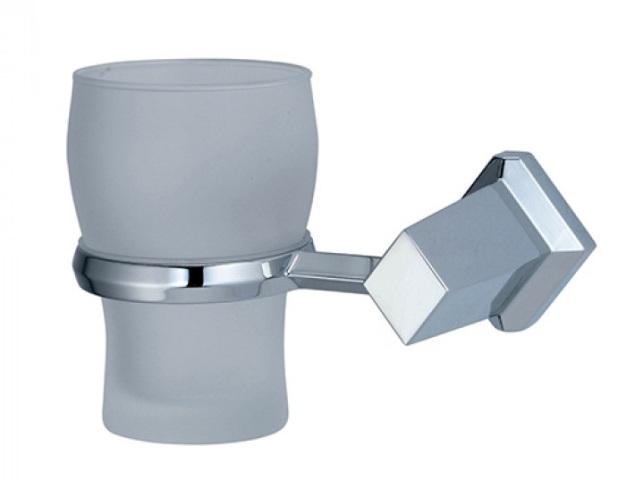 Подстаканник стеклянный WasserKRAFT Aller K-1128 металл, хромоникелевое покрытие, матовое стекло, фото