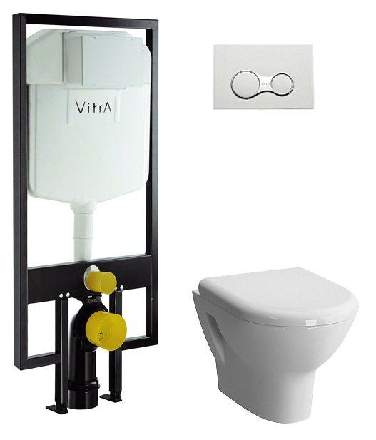 Фото - Унитаз с инсталляцией подвесной Vitra ZENTRUM 9012B003-7206 (кнопкой сид м/лифт)