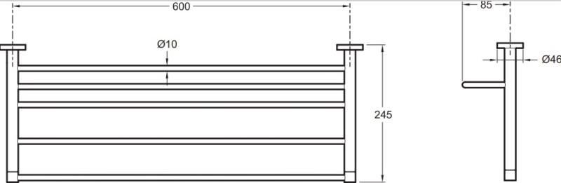 Полка подвесная Jacob Delafon E77832-CP д/полотенец CLASSIQUE /60х24,5/(хром), фото