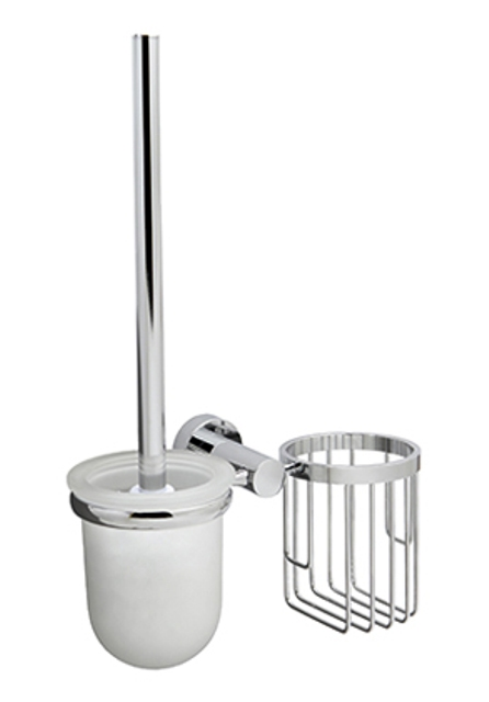 Держатель WasserKRAFT Donau K-9435 освежителя и щетки для унитаза металл, хромоникелевое покрытие, матовое стекло, фото