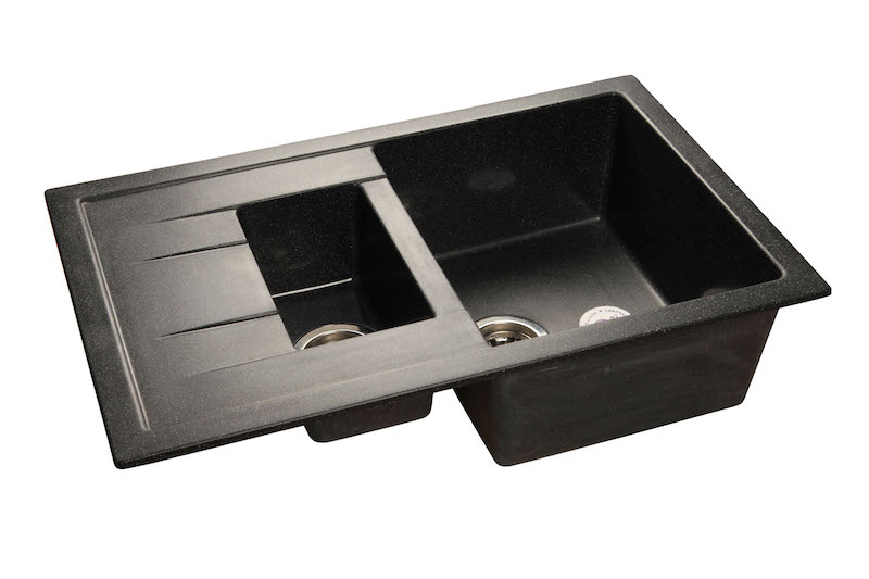 Кухонная мойка GranFest QUADRO GF-Q775KL 1.5-чаш+крыло 775*500мм черный
