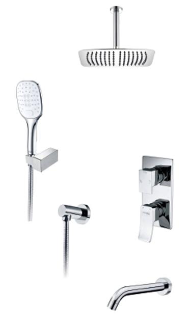 Фото - Встраиваемый комплект WasserKRAFT А171668 для ванны с верхней душевой насадкой, лейкой и изливом