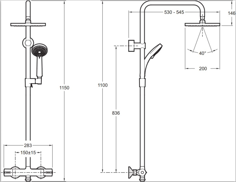 Фото - Душевая стойка Jacob Delafon JULY  E5523-CP с термостатом, квадратный верхний душ (хром)
