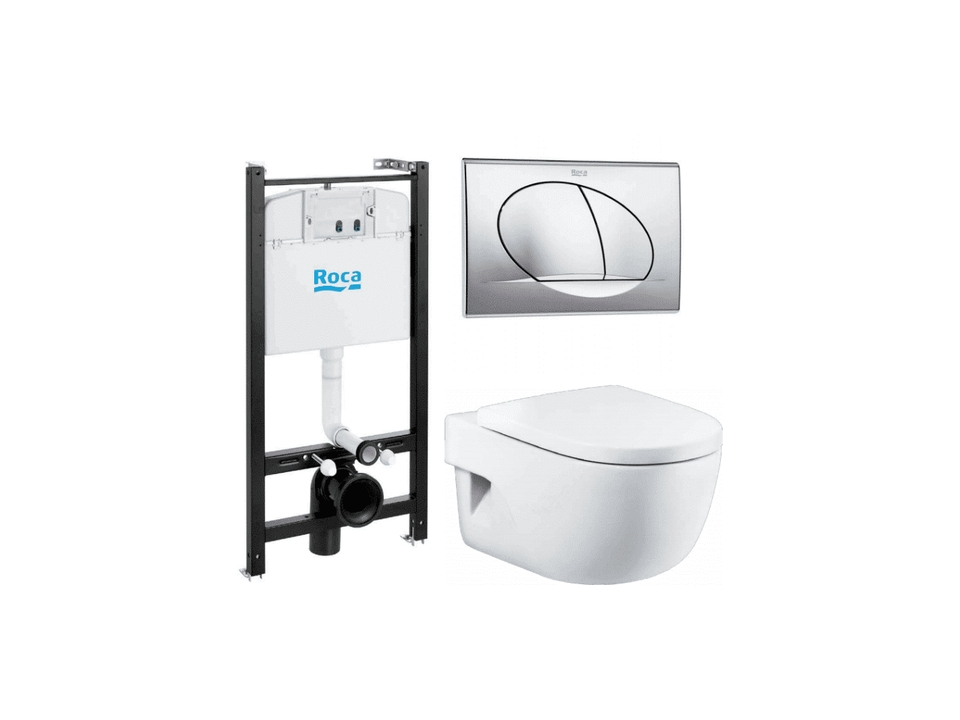 Фото - Инсталляция комплект Roca MEREDIAN 893104110 (подвесной унитаз + инсталляция + кнопка + сиденье)