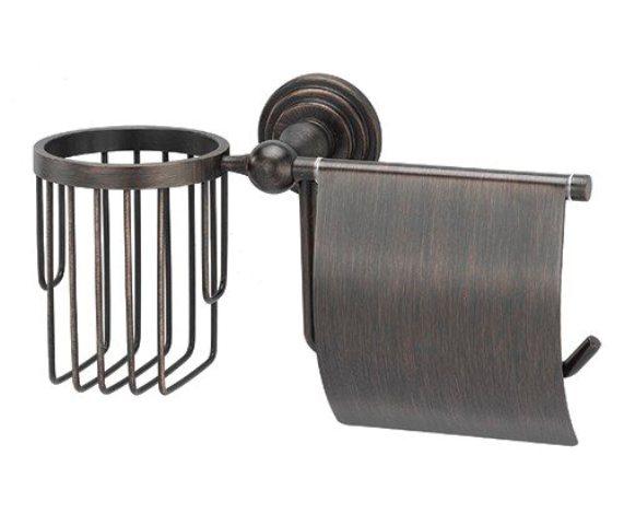Держатель туалетной бумаги WasserKRAFT Isar K-7359 и освежителя металл, покрытие темная бронза, фото