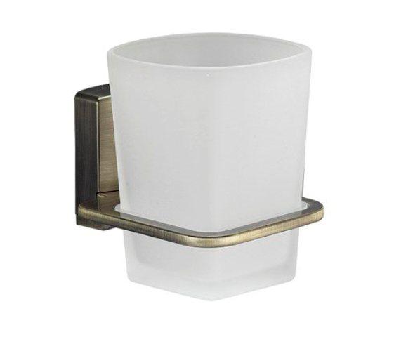 Стакан для зубных щеток стеклянный WasserKRAFT Exter K-5228 металл, матовое стекло, покрытие светлая бронза, фото