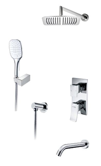Фото - Встраиваемый комплект WasserKRAFT А171619 для ванны с верхней душевой насадкой, лейкой и изливом