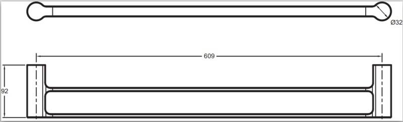 Полотенцедержатель Jacob Delafon SINGULIER 15206D-CP двойной /60,9х9,2х d32/ (хром), фото