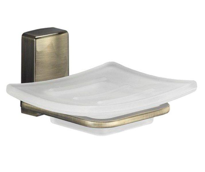 WasserKRAFT Exter K-5229 Мыльница стеклянная металл, уплотнительные пластиковые кольца, матовое стекло, покрытие светлая бронза, фото