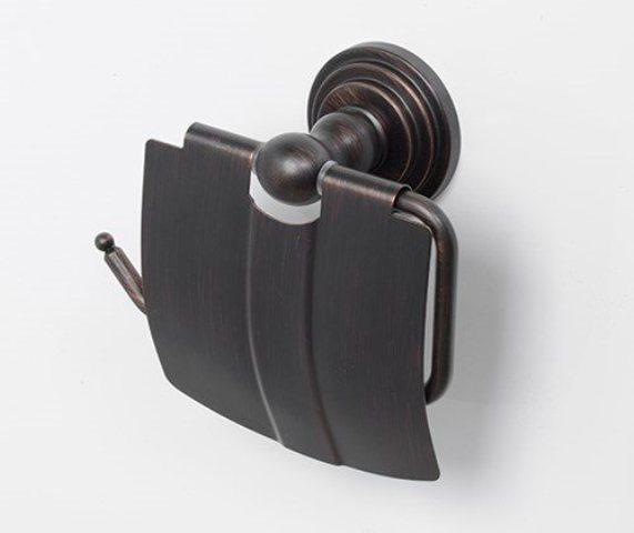 Держатель туалетной бумаги WasserKRAFT Isar K-7325 с крышкой металл, покрытие темная бронза, фото