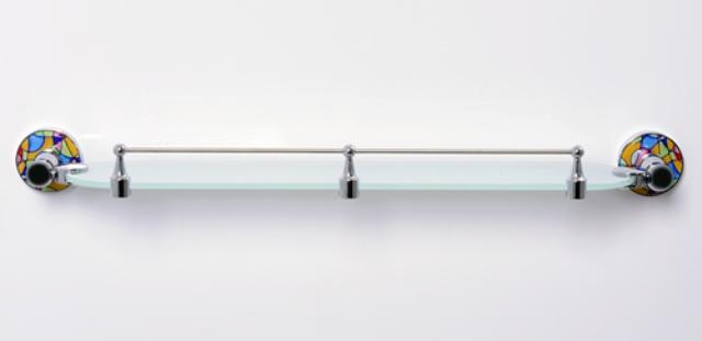 Полка WasserKRAFT Diemel K-2244 стеклянная с бортиком, фото