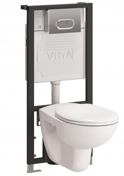 Фото - Унитаз с инсталляцией Vitra Normus 9773B003-7200 (инстал.+кн.гл.хром сид микролифт)