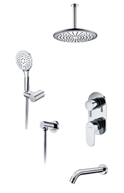 Фото - Встраиваемый комплект WasserKRAFT А175868 для ванны с верхней душевой насадкой, лейкой и изливом