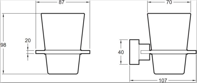 Стакан Jacob Delafon E77866-CP подвесной MECANIQUE стекло (хром), фото