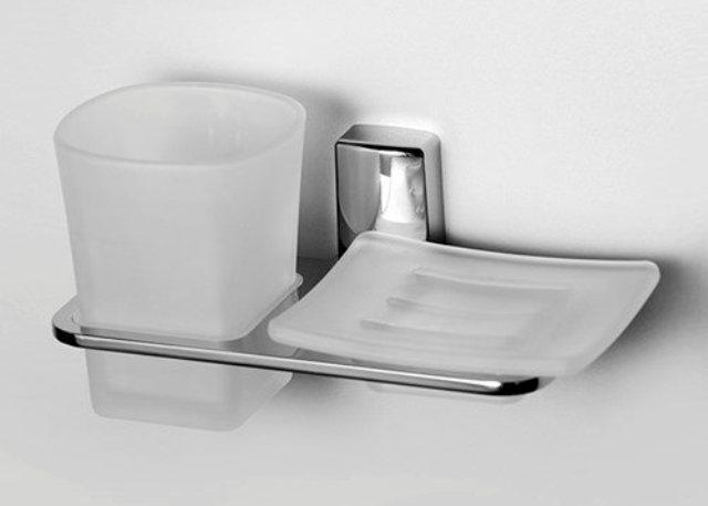 Держатель стакана и мыльницы WasserKRAFT Leine K-5026 металл, хромоникелевое покрытие, матовое стекло, фото