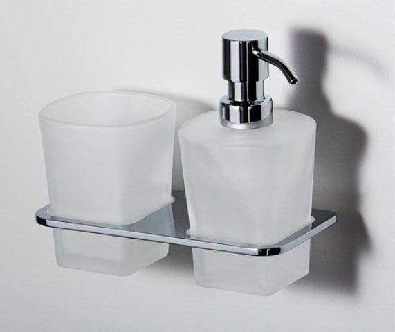 Держатель стакана и дозатора WasserKRAFT Leine K-5089  металл, хромоникелевое покрытие, матовое стекло, фото