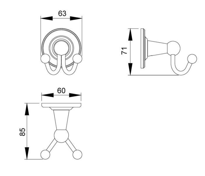Крючок двойной Timo Nelson 150012/00 chrome, фото