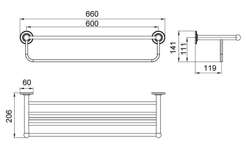 Полка для полотенец Timo Nelson 150058/00 chrome, фото