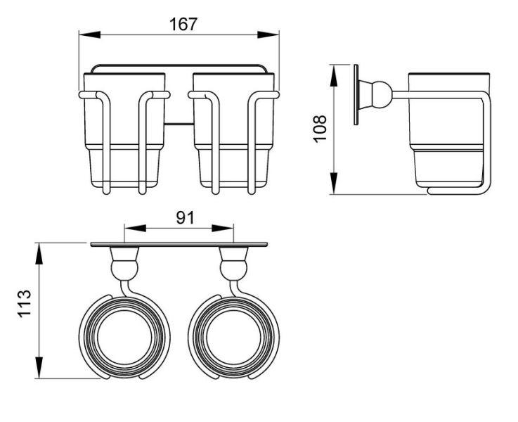 Стакан двойной для зубных щеток Timo Nelson 150032/00 chrome, фото