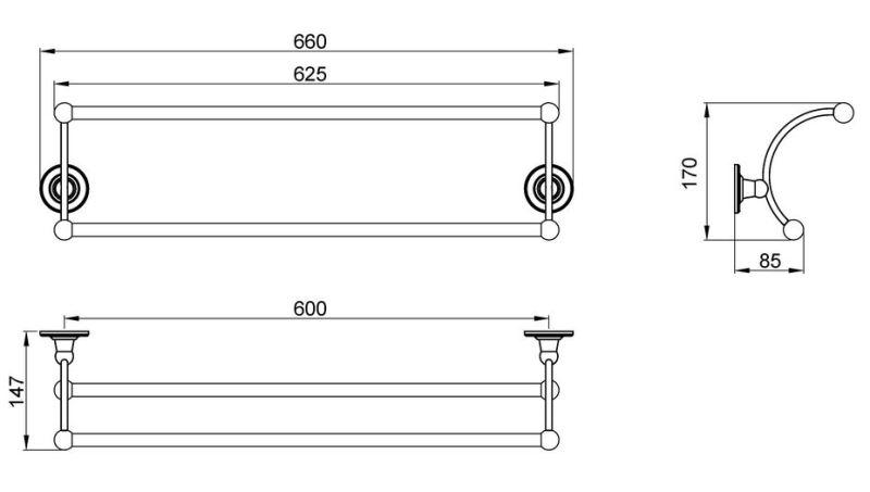 Полотенцедержатель двойной Timo Nelson 160056/02 antique, фото