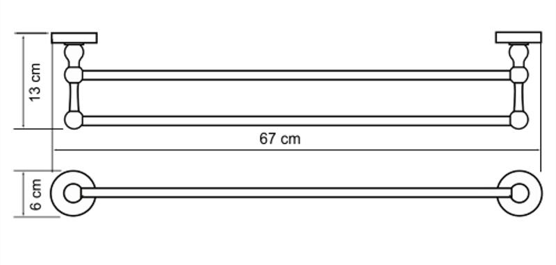 Штанга WasserKRAFT Diemel K-2240 для полотенец двойная, фото