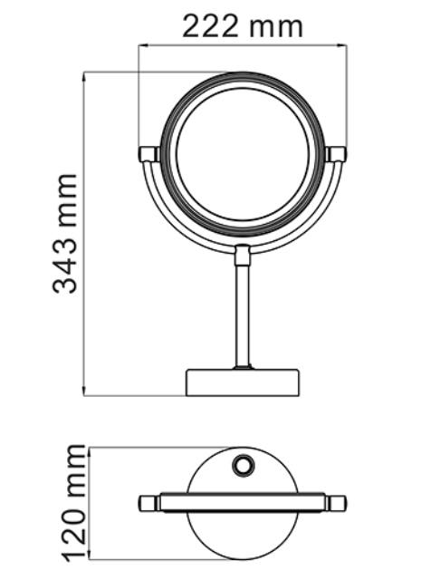 Зеркало WasserKRAFT K-1005 Black с LED-подсветкой двухстороннее, стандартное и с 3-х кратным увеличением, фото