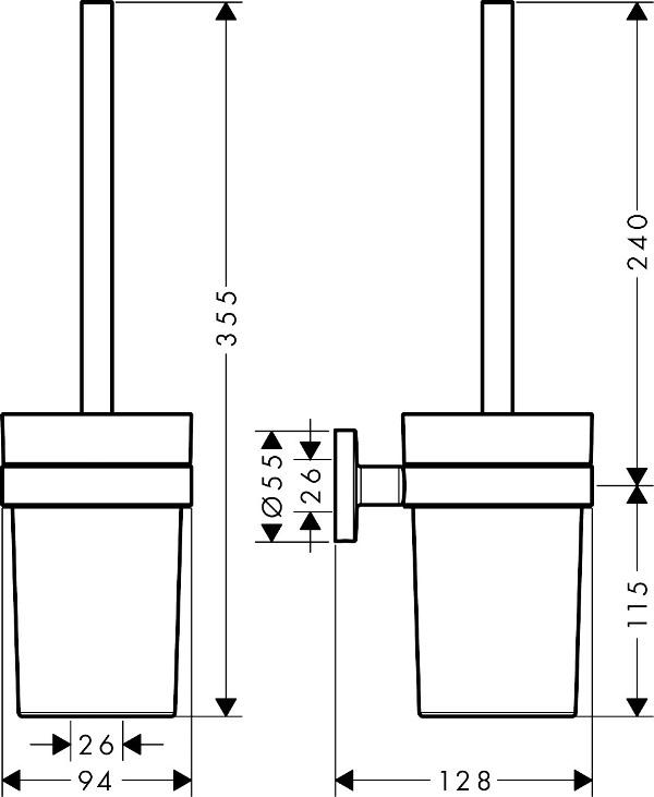 Туалетный ершик Hansgrohe 41722000 Logis настенный, хром, фото