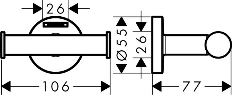 Крючок Hansgrohe 41725000 Logis двойной д/ полотенец, фото