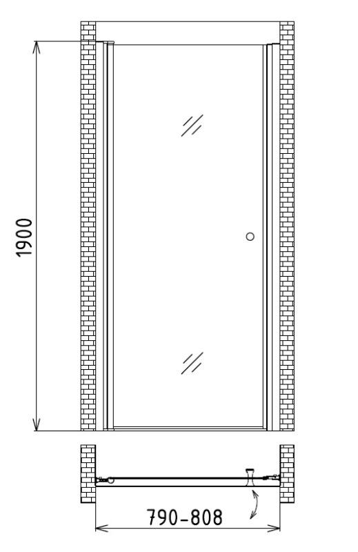 Фото - Душевая дверь в нишу Gemy S03190A (800x1900)