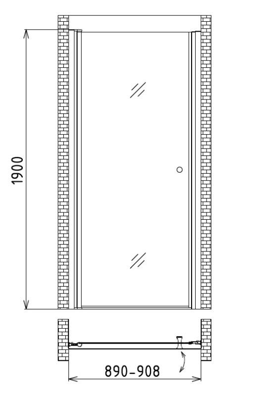 Фото - Душевая дверь в нишу Gemy S03190B (900x1900)