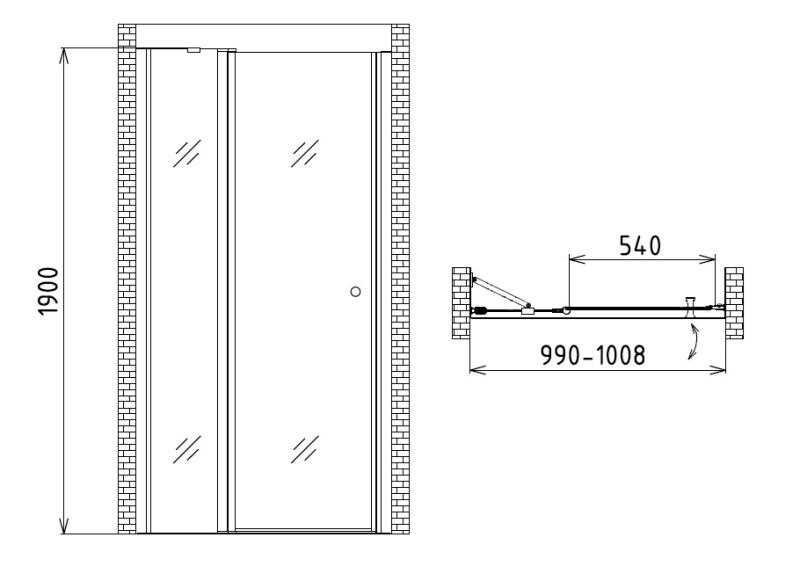Фото - Душевая дверь в нишу Gemy S03191A (1000x1900)