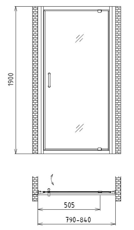 Фото - Душевая дверь в нишу Gemy S28150 (800x1900)