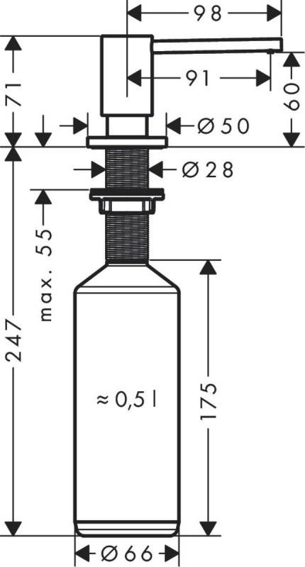 Диспенсер Hansgrohe 40438800 для жидкого мыла, под сталь, фото
