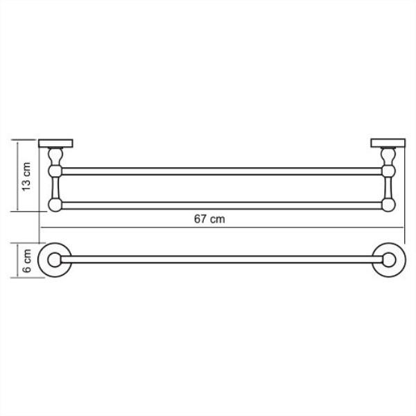 Штанга WasserKRAFT Aland K-8540 для полотенец двойная, фото