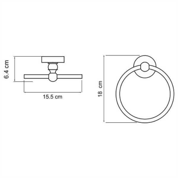 Держатель WasserKRAFT Aland K-8560 полотенец кольцо, фото