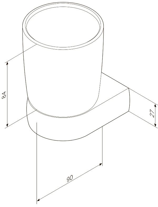 Стакан AM.PM Sensation A3034300 стеклянный с настенным держателем, хром, фото