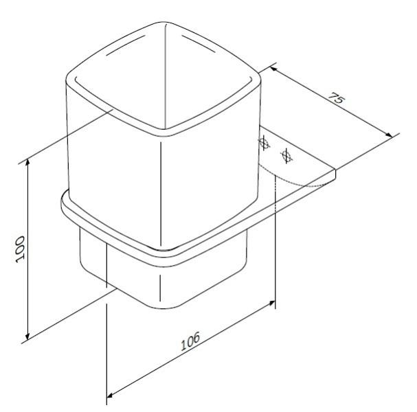 Стакан AM.PM Inspire 2.0 A50A34300 стеклянный с настенным держателем, хром, фото
