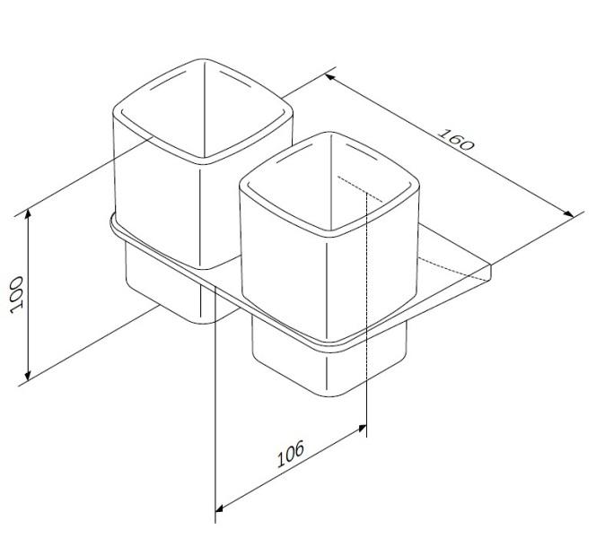 Стакан AM.PM Inspire 2.0 A50A343400 двойной стеклянный с настенным держателем, хром, фото