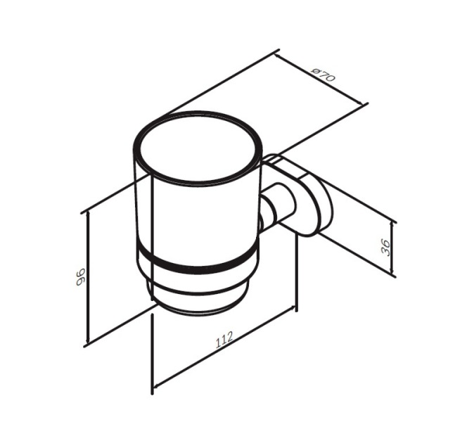 Стакан AM.PM Sense L A7434300 стеклянный с настенным держателем, хром, фото