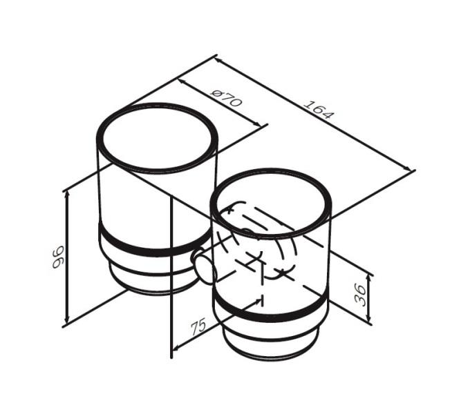 Стакан AM.PM Sense L A74343400 двойной стеклянный с настенным держателем, хром, фото