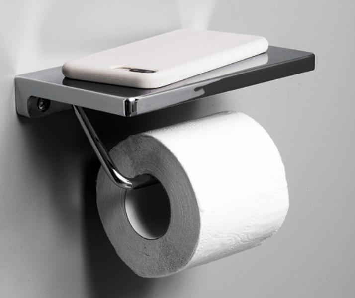 Держатель WasserKRAFT K-1425 туалетной бумаги с полочкой для телефона, фото