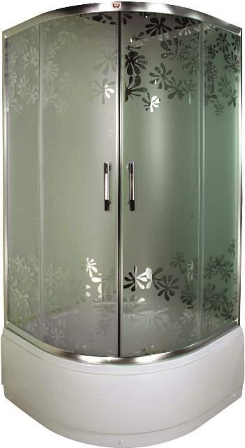 Фото - Душевой уголок Parly Z90 (90*90*195) матовое стекло, с рисунком, высокий поддон