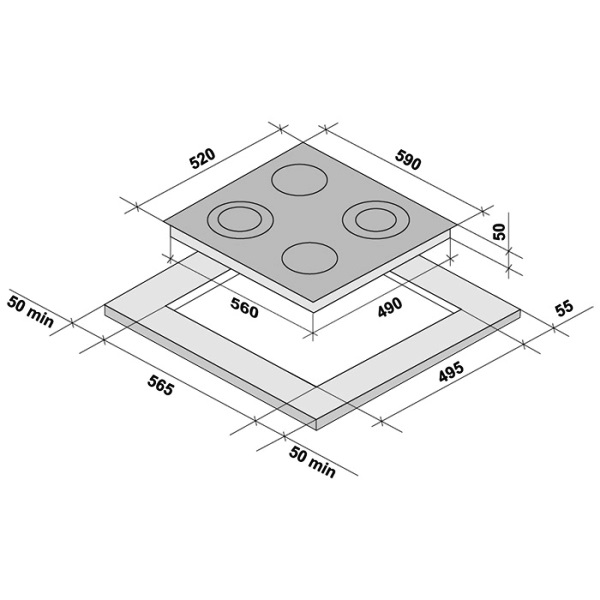 Фото - Варочная поверхность Krona LEGGIERO 60 BL электрическая (независимая)