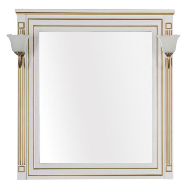 Фото - Зеркало Aquanet Паола 90 белый/патина золото без светил. (186108)