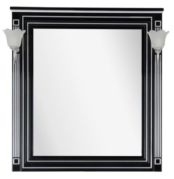 Фото - Зеркало Aquanet Паола 90 черный патина серебро без светил. (181766)