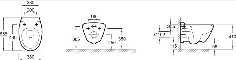 Фото - Унитаз подвесной Jacob Delafon PRESQU`ILE E4440-00 с сиденьем микролифт с креплениями из нержавеющей стали E70016 /55x38/ (бел)