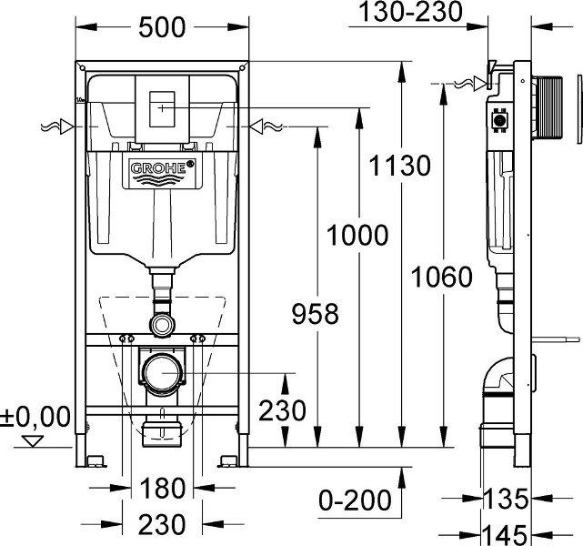 Фото - Инсталляция Grohe 38775001 Rapid SL для подвесного унитаза 4 в 1, с кнопкой Skate Cosmopolitan, 1,13 м