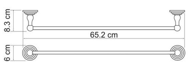 Штанга для полотенец WasserKRAFT Ammer K-7030 металл, покрытие